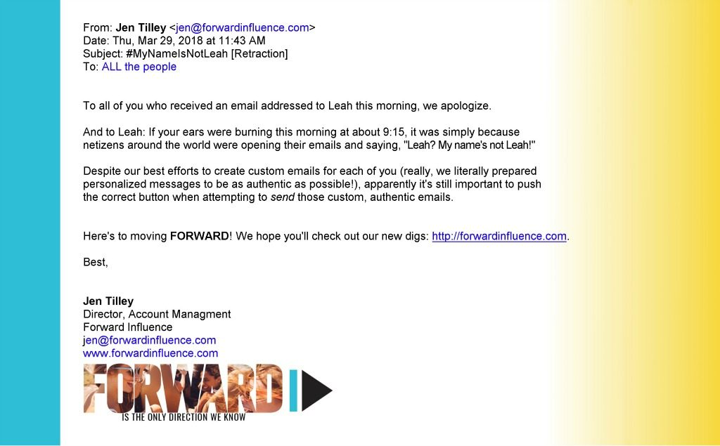 Email Marketing Campaign Retraction Example