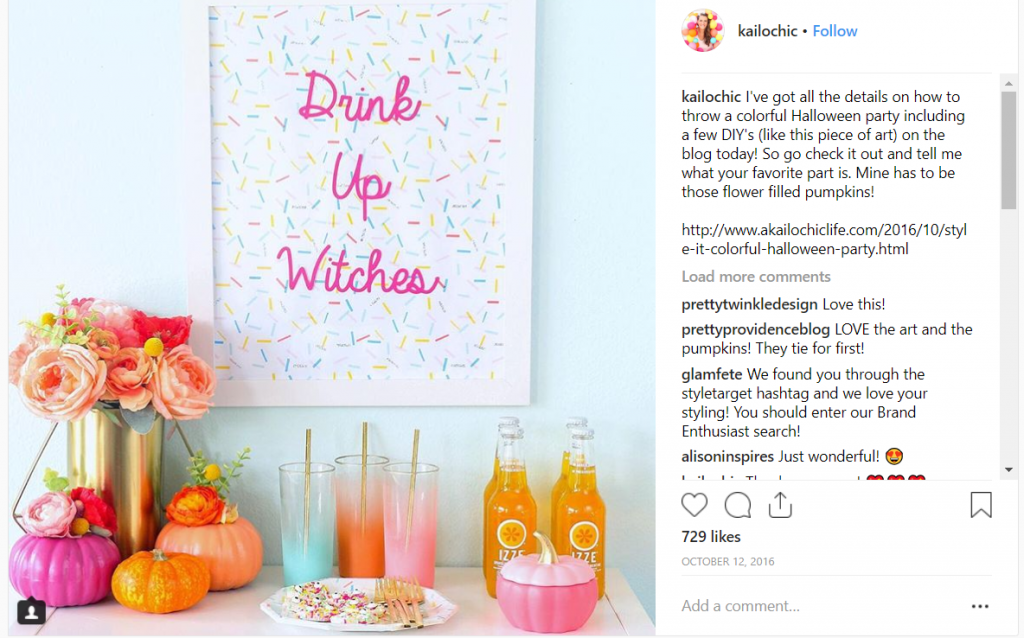 izze kailochic instagram post_halloween campaign ideas