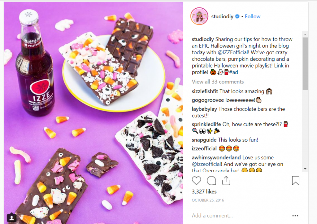 izze studiodiy instagram post-influencer marketing campaign ideas-candy corn